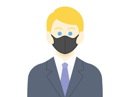 Illustration of a white businessman wearing a black mask
