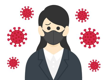 Illustration of a woman infected with a virus