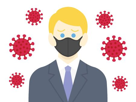 Illustration of a virus-infected white businessman