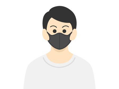 Illustration of a man wearing a black mask Çizim