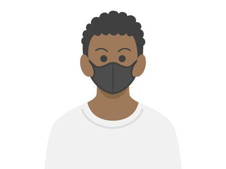 Illustration of a black man wearing a black mask