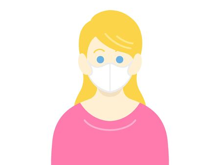 Illustration of a white woman wearing a mask