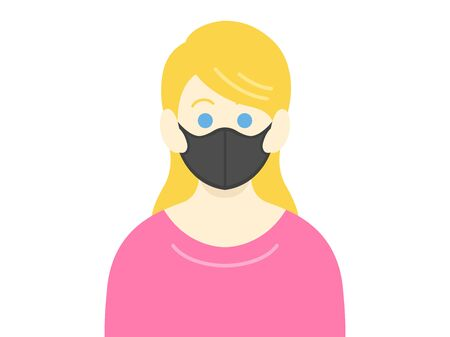 Illustration of a white woman wearing a black mask
