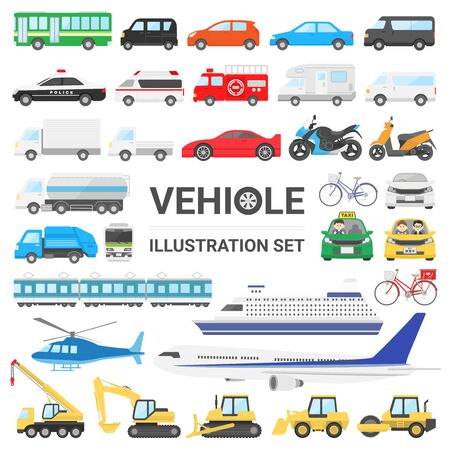 Vehicle illustration set Çizim