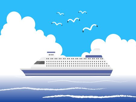 Illustration of a cruise ship Çizim