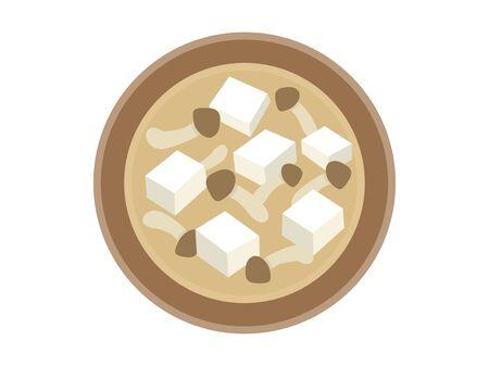 Illustration of mushroom miso soup