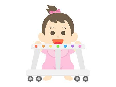 Baby girl using walker