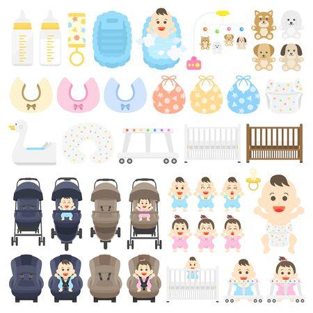 Baby Product Illustration Set Vector Illustratie