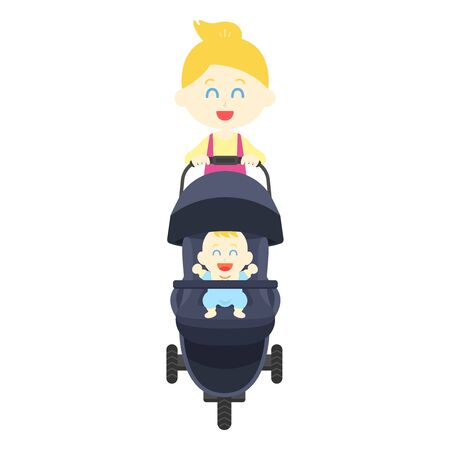 White woman pushing stroller