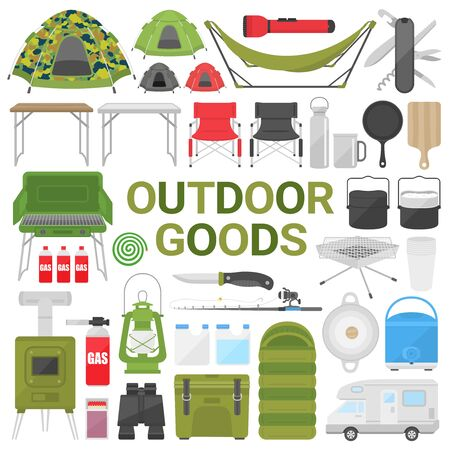 Illustration set of camping equipment
