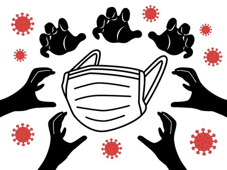 Illustration of mask shortage problem Vektoros illusztráció