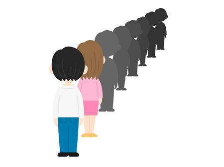 Illustration of people lining up