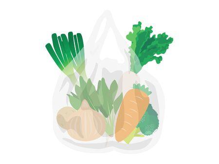 Illustration of vegetables in a plastic bag