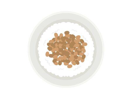 Illustration of natto rice Иллюстрация