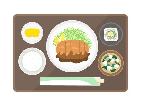 Illustrations of tonkatsu set meals