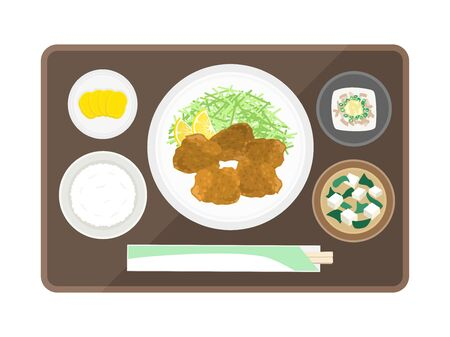 Illustration of fried fried set meal