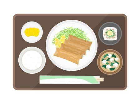 Illustration of spring rolls set meal