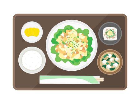 Shrimp Mayonnaise Set Meal  イラスト・ベクター素材