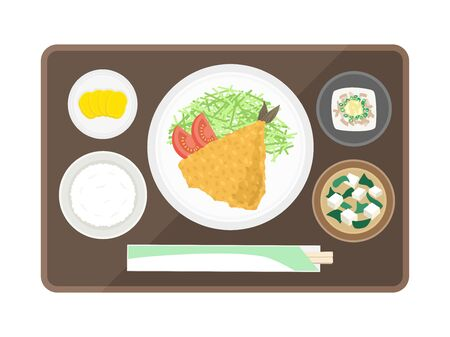 Illustration of ajifly set meal  イラスト・ベクター素材