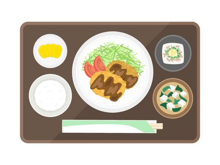 Illustration of menchikatsu set meal  イラスト・ベクター素材