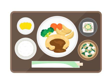 Illustration of cheese hamburger set meal  イラスト・ベクター素材