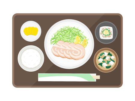 Illustration of charshoe set meal  イラスト・ベクター素材