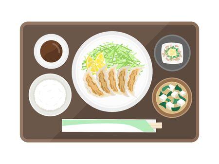Illustration of gyoza set meal