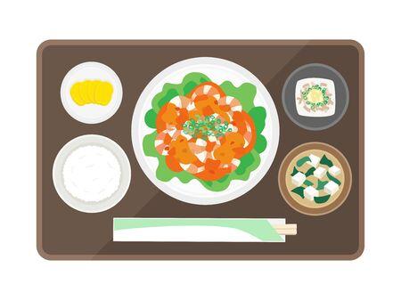 Shrimp sauce set meal  イラスト・ベクター素材
