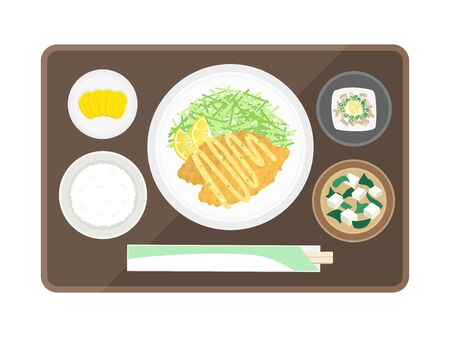 Fried set meal of white fish  イラスト・ベクター素材