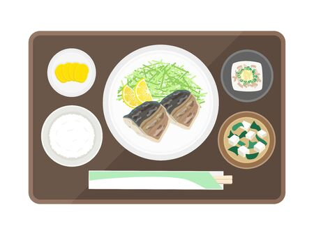 Illustration of saba's salt-baked set meal
