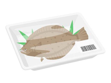 Illustration of flounder in a pack Illustration