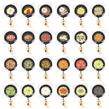 Illustration set of dishes cooked in a frying pan
