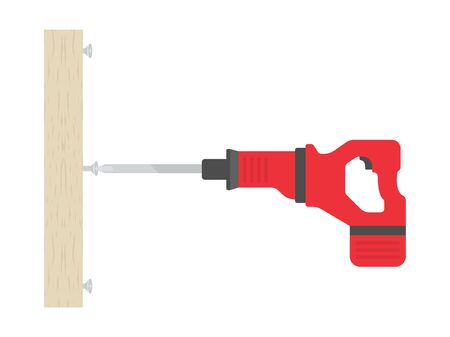 Illustration of turning screws with an electric screwdriver  イラスト・ベクター素材