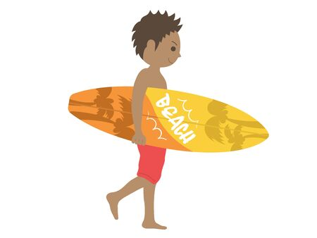 Illustration of a tanned surfer