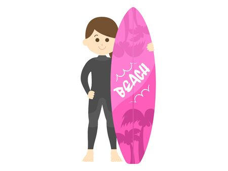 Illustration of a female surfer in a wetsuit