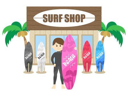 Surf Shop Illustrations  イラスト・ベクター素材