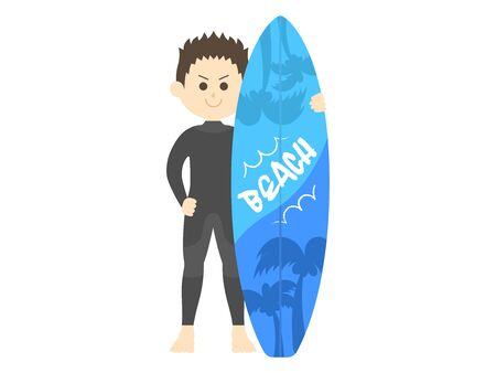 Illustration of a male surfer in a wetsuit