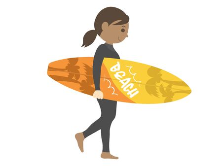 Illustration of female surfer
