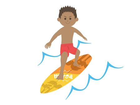 Illustration of a man surfing