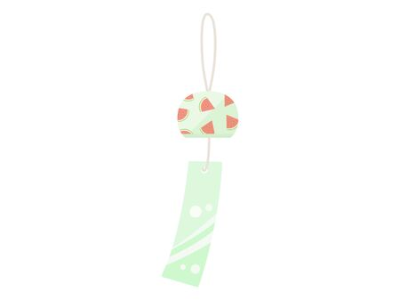 Illustration of a watermelon-patterned wind chime Иллюстрация