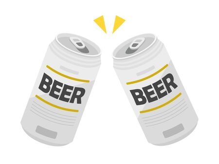 Illustration toasting with canned beer 向量圖像