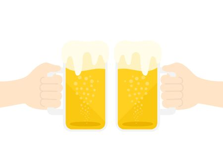 Illustration toasting with draft beer  イラスト・ベクター素材