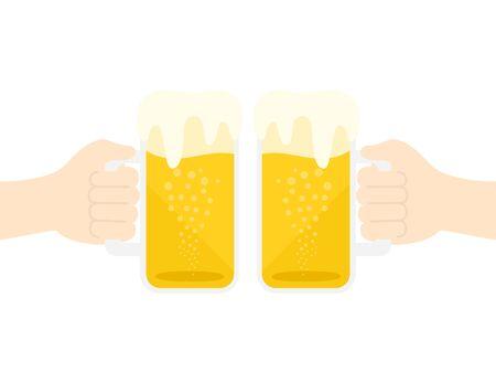 Illustration toasting with draft beer 向量圖像