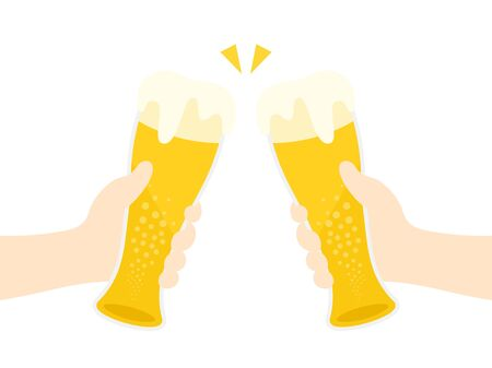 Illustration toasting with draft beer  イラスト・ベクター素材