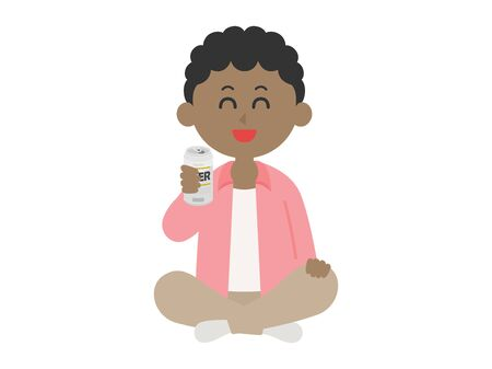 Illustration of a black man sitting and drinking beer