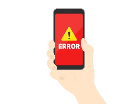 Illustration of a smartphone with an error screen Illustration