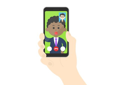 Illustration of a businessman making a video call