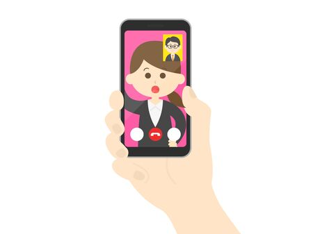Illustration of a businesswoman making a video call