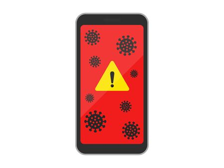 Illustration of a virus-infected smartphone