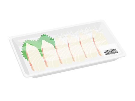 Illustration of sashimi of sea bream in a pack